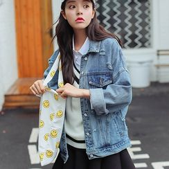Morever - Distressed Buttoned Denim Jacket