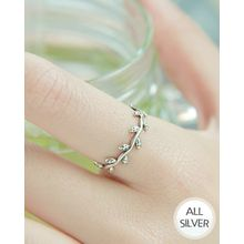 Miss21 Korea - Leaf-Motif Adjustable Silver Ring
