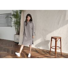 Hello sweety - Band-Sleeve Gingham Shift Dress
