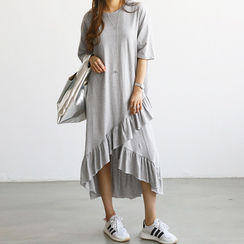 NANING9 - Frill-Hem Long T-Shirt Dress