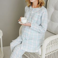 Oulimom - Maternity Set: Plaid Nursing Pajama Shirt + Pants