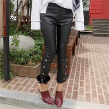 LIPHOP - Buttoned Accent Faux-Leather Skinny Pants