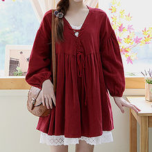 Sechuna - Drop-Shoulder Lace-Up Tunic