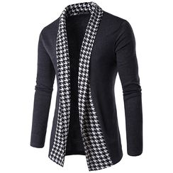 Bay Go Mall - Houndstooth Trim Cardigan