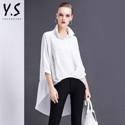 Y:Q - 3/4-Sleeve Asymmetric Blouse