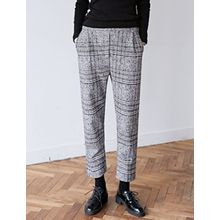 FROMBEGINNING - Glen-Plaid Wool Blend Dress Pants