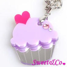 Sweet & Co. - Sweet&Co Mini Purple Cupcake Crystal Silver Necklace