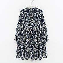 Meimei - Floral Print Long Sleeve Chiffon Dress