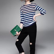 Alaroo - Striped 3/4-Sleeve Knit Top