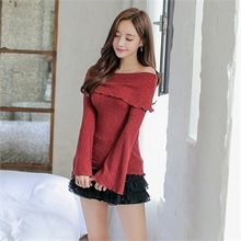 Babi n Pumkin - Off-Shoulder Bell-Sleeve Ribbed Top