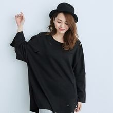 BAIMOMO - Long-Sleeve Distressed Top