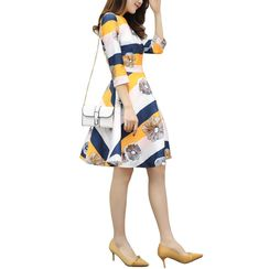 Lavogo - Floral Print Striped 3/4 Sleeve A-Line Dress