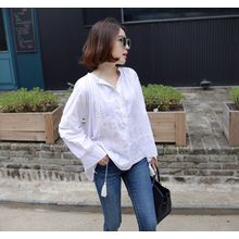 Miamasvin - Tasseled Lace-Trim Half-Placket Top